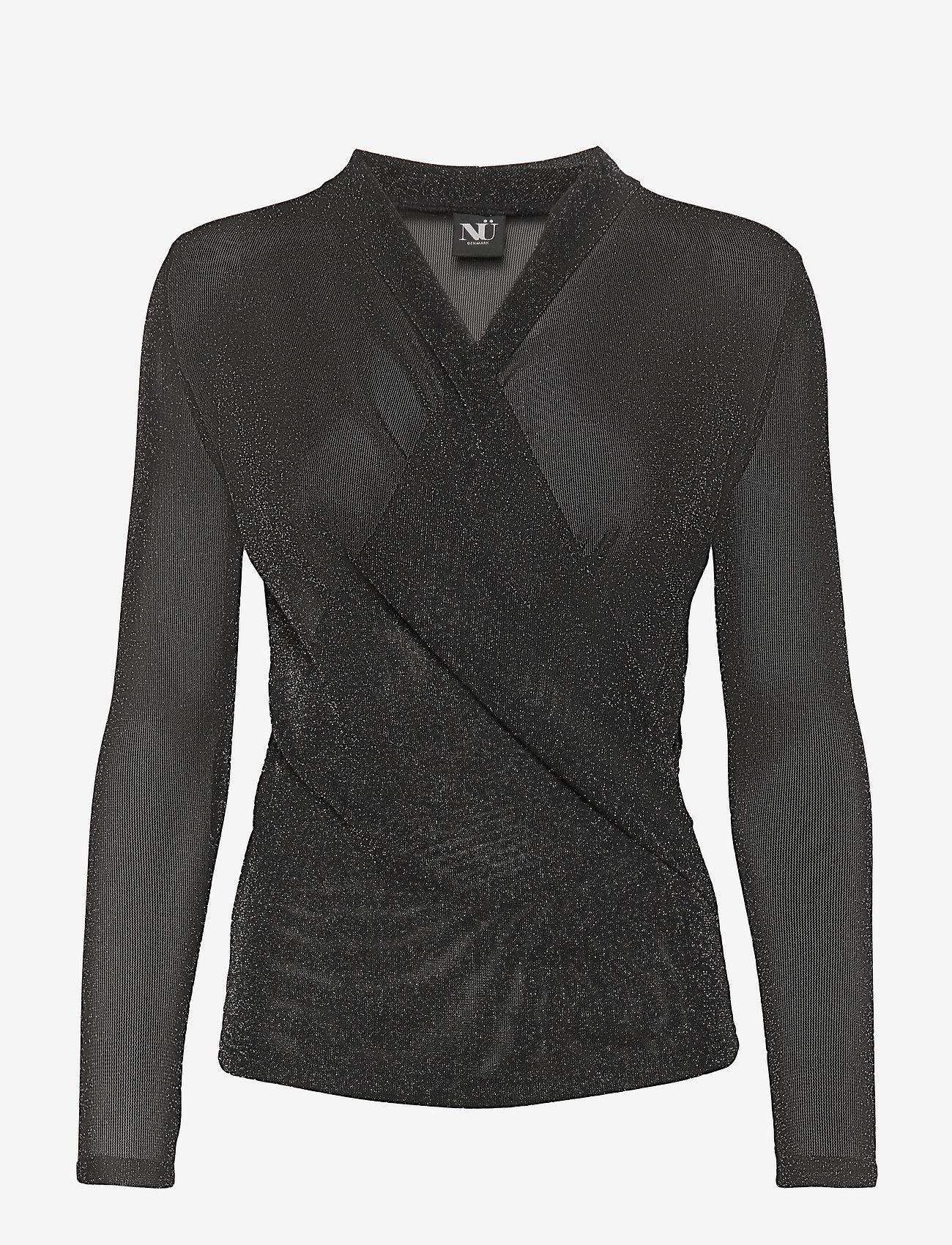 NÜ Denmark - Cait Blouse wrap lurex - t-shirts basiques - black