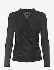 NÜ Denmark - Cait Blouse wrap lurex - t-shirts basiques - black - 0