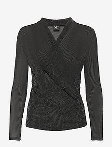 Cait Blouse wrap lurex - basic t-shirts - black