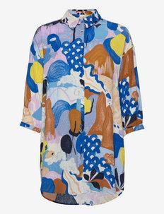 NUCICELY LONG SHIRT - chemises à manches courtes - princess blue