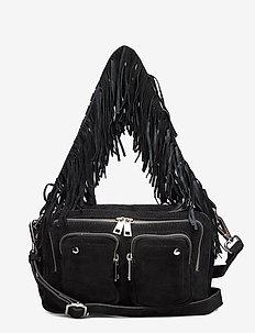Ellie suede w. fringes - handbags - black