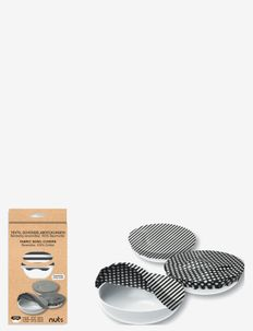 Cotton Bowl Cover Set 3 pcs Stripes & Dots - sekoituskulhot - black