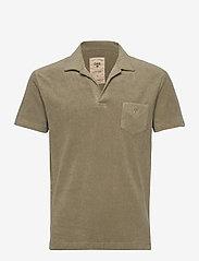 OAS - Solid Khaki Terry Shirt - korte mouwen - khaki - 0