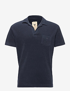 Solid Navy Terry Shirt - korte mouwen - blue