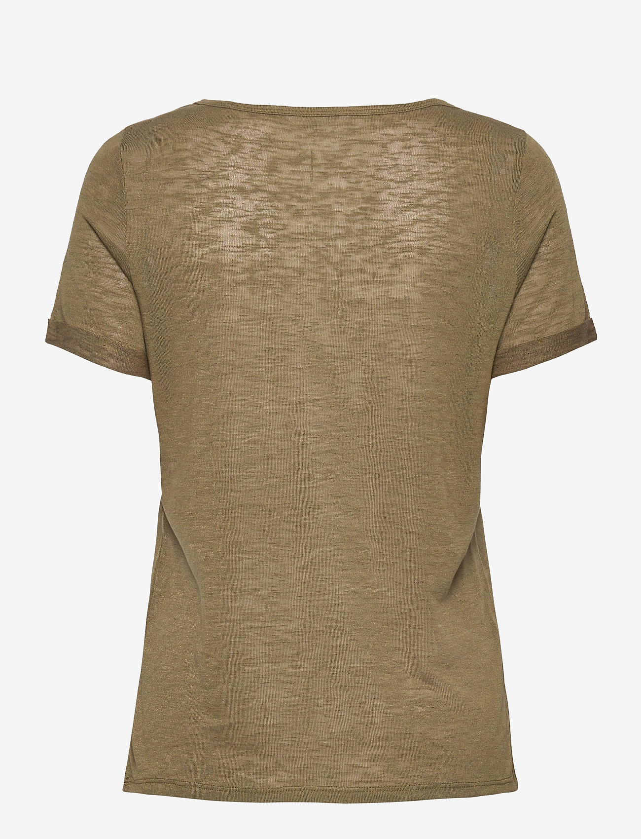 Object - OBJTESSI SLUB S/S V-NECK - t-shirts - burnt olive - 1