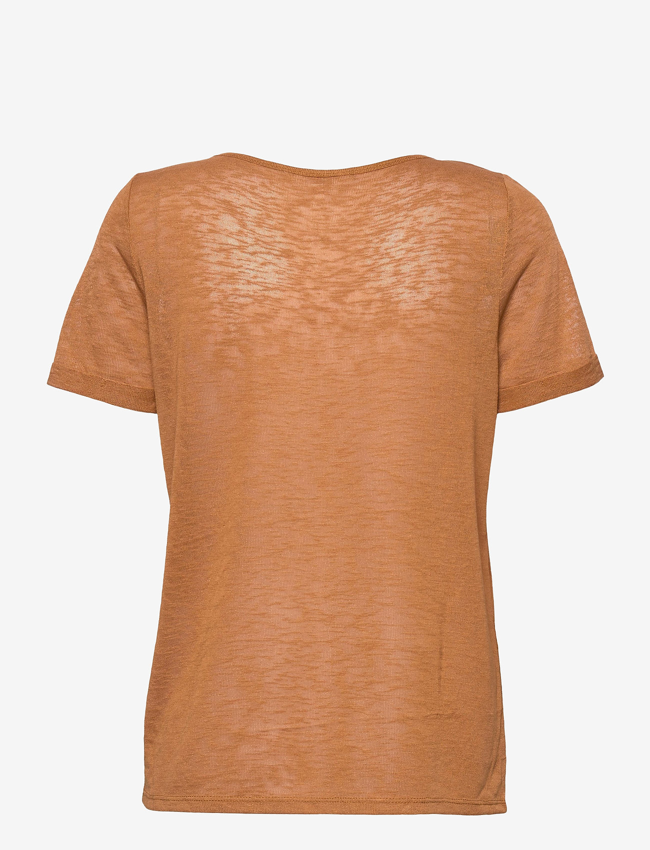 Object - OBJTESSI SLUB S/S V-NECK - t-shirts - chipmunk - 1