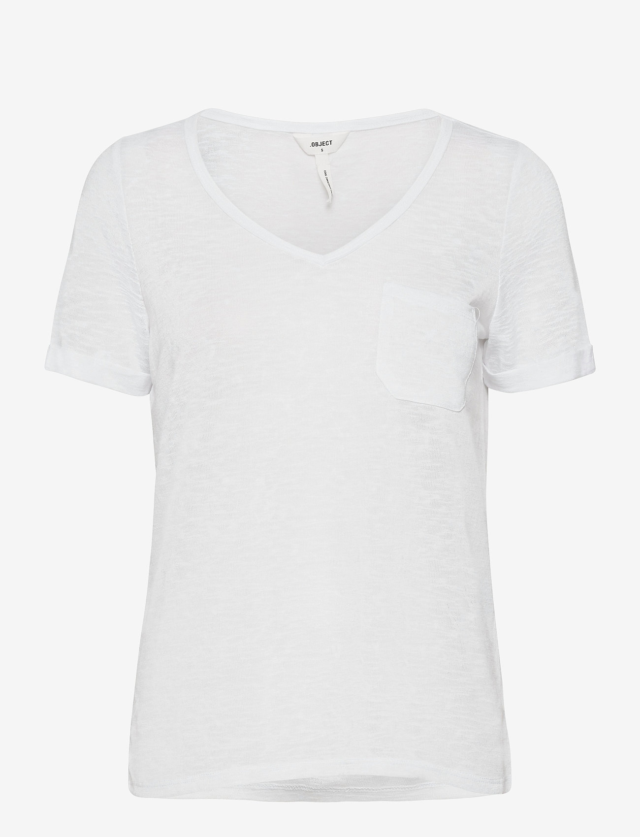 Object - OBJTESSI SLUB S/S V-NECK - t-shirts - white - 0