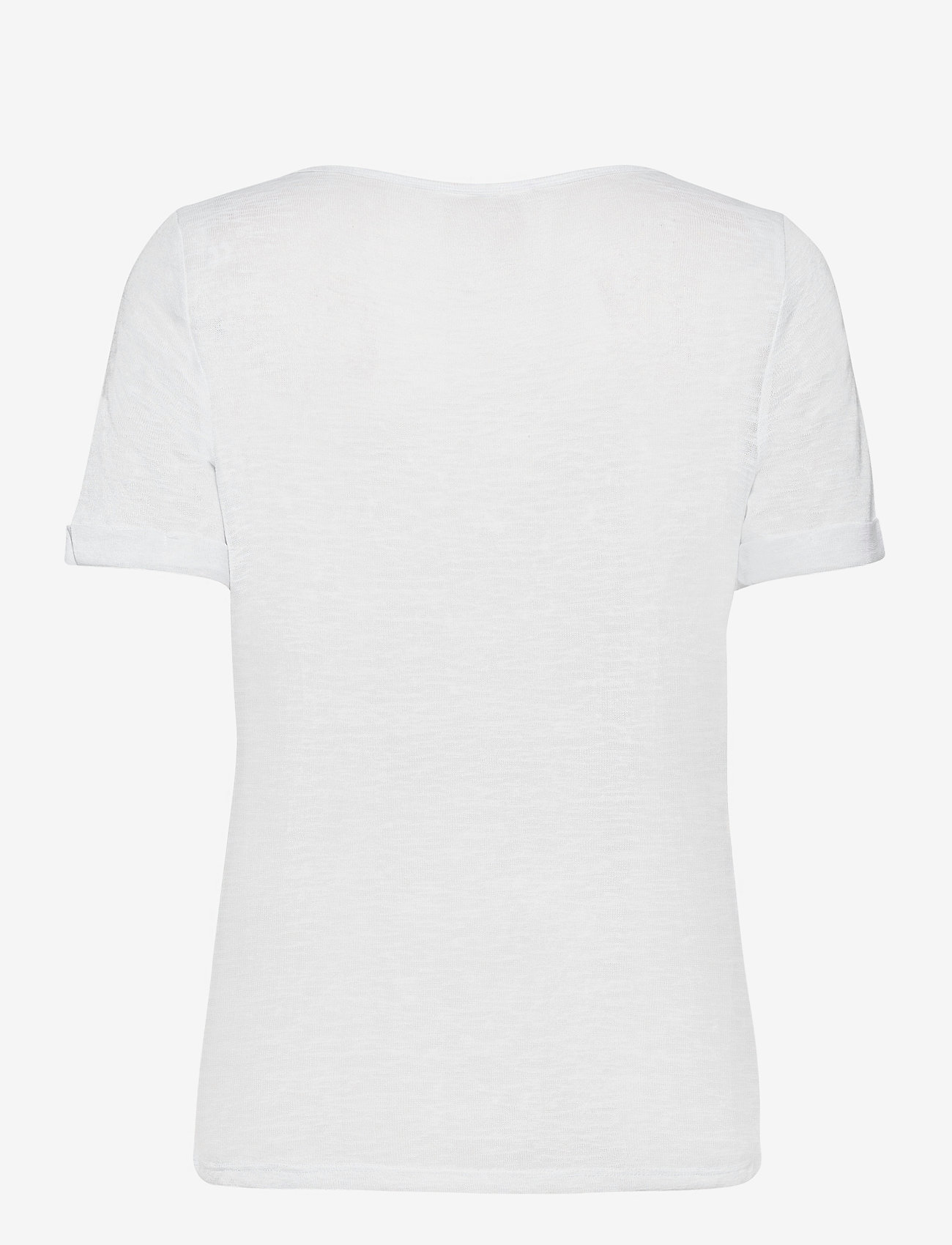 Object - OBJTESSI SLUB S/S V-NECK - t-shirts - white - 1