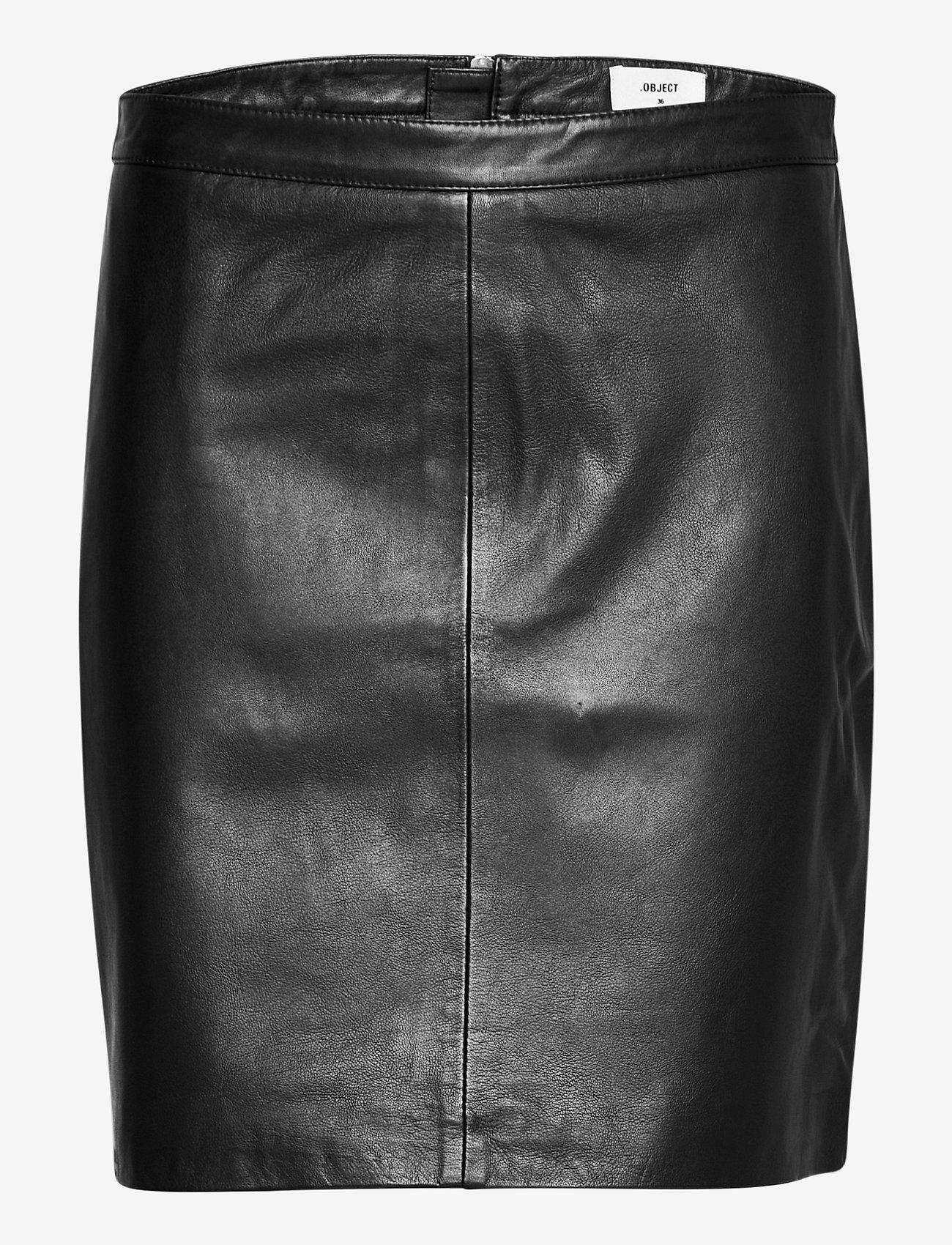 Object - OBJCHLOE LEATHER SKIRT - midi skirts - black - 0