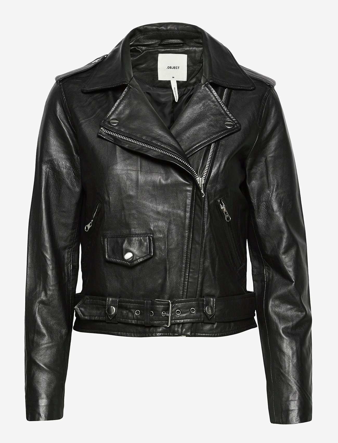 Object - OBJNANDITA LEATHER JACKET - skinnjackor - black - 0