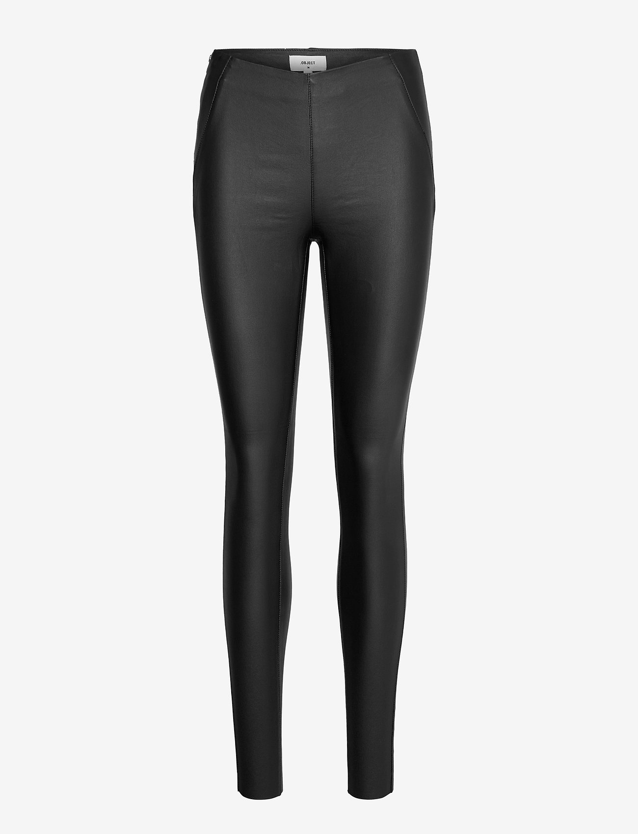 Object - OBJBELLE MW COATED LEGGINGS - leggings - black - 0