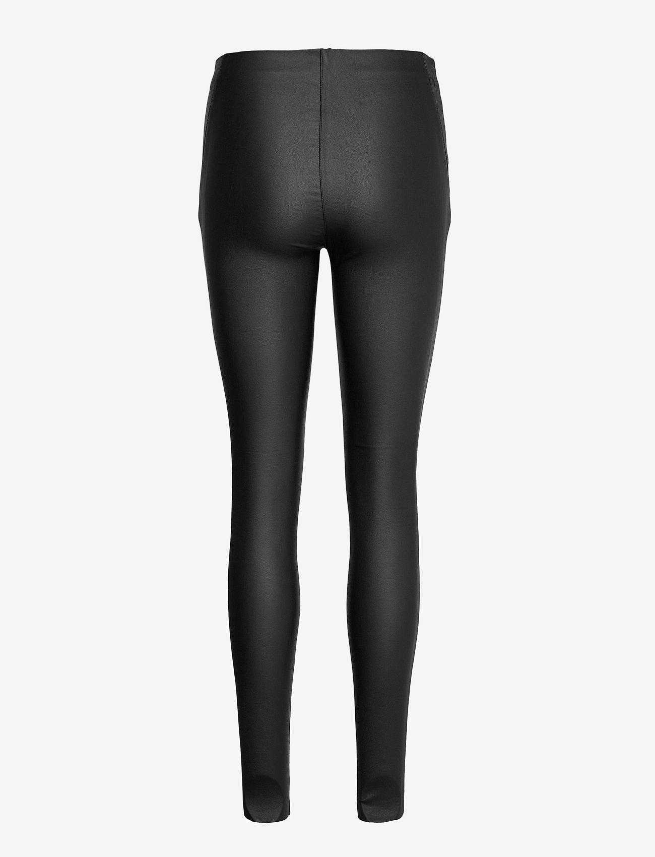 Object - OBJBELLE MW COATED LEGGINGS - leggings - black - 1