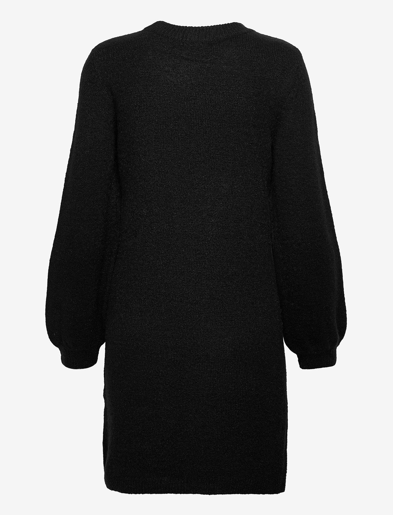 Object - OBJEVE NONSIA L/S KNIT DRESS - knitted dresses - black - 1