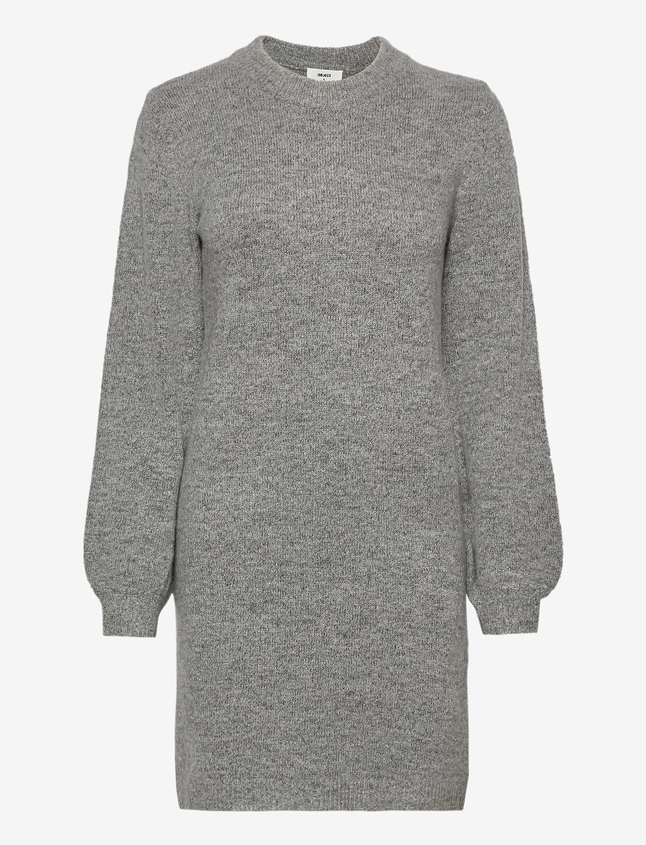 Object - OBJEVE NONSIA L/S KNIT DRESS - knitted dresses - light grey melange - 0