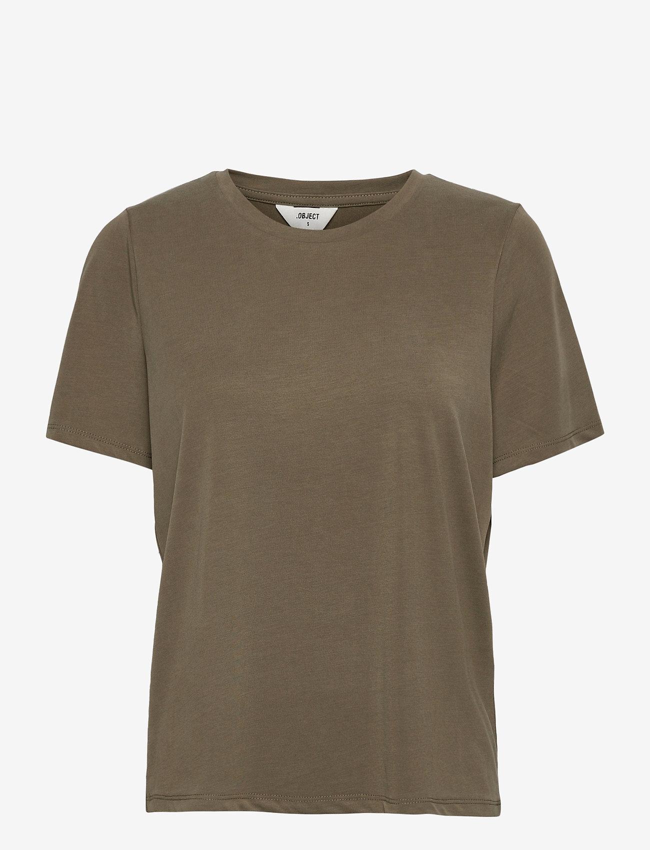 Object - OBJANNIE S/S T-SHIRT - t-shirts - burnt olive - 0