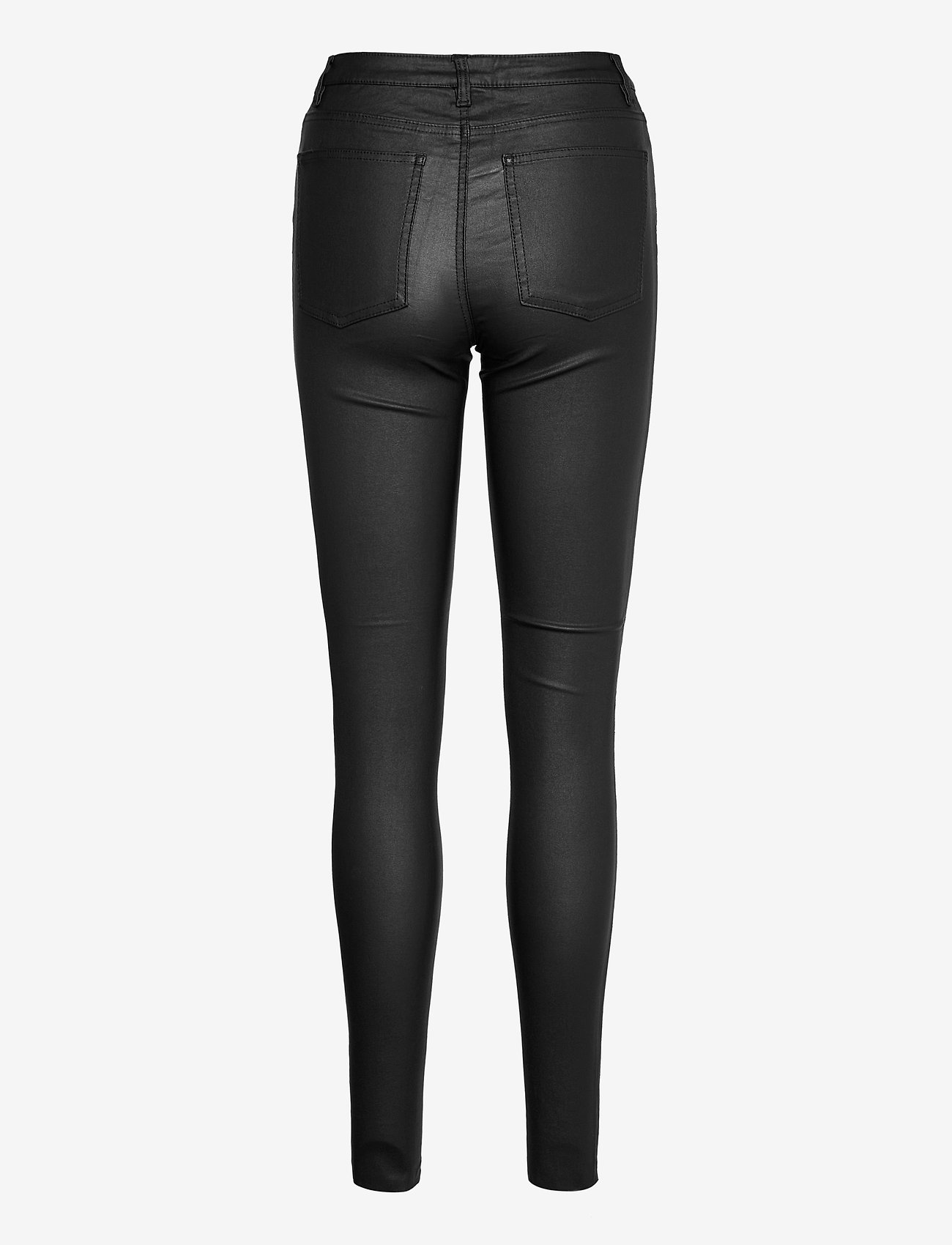 Object - OBJBELLE MW COATED PANTS - trousers with skinny legs - black - 1