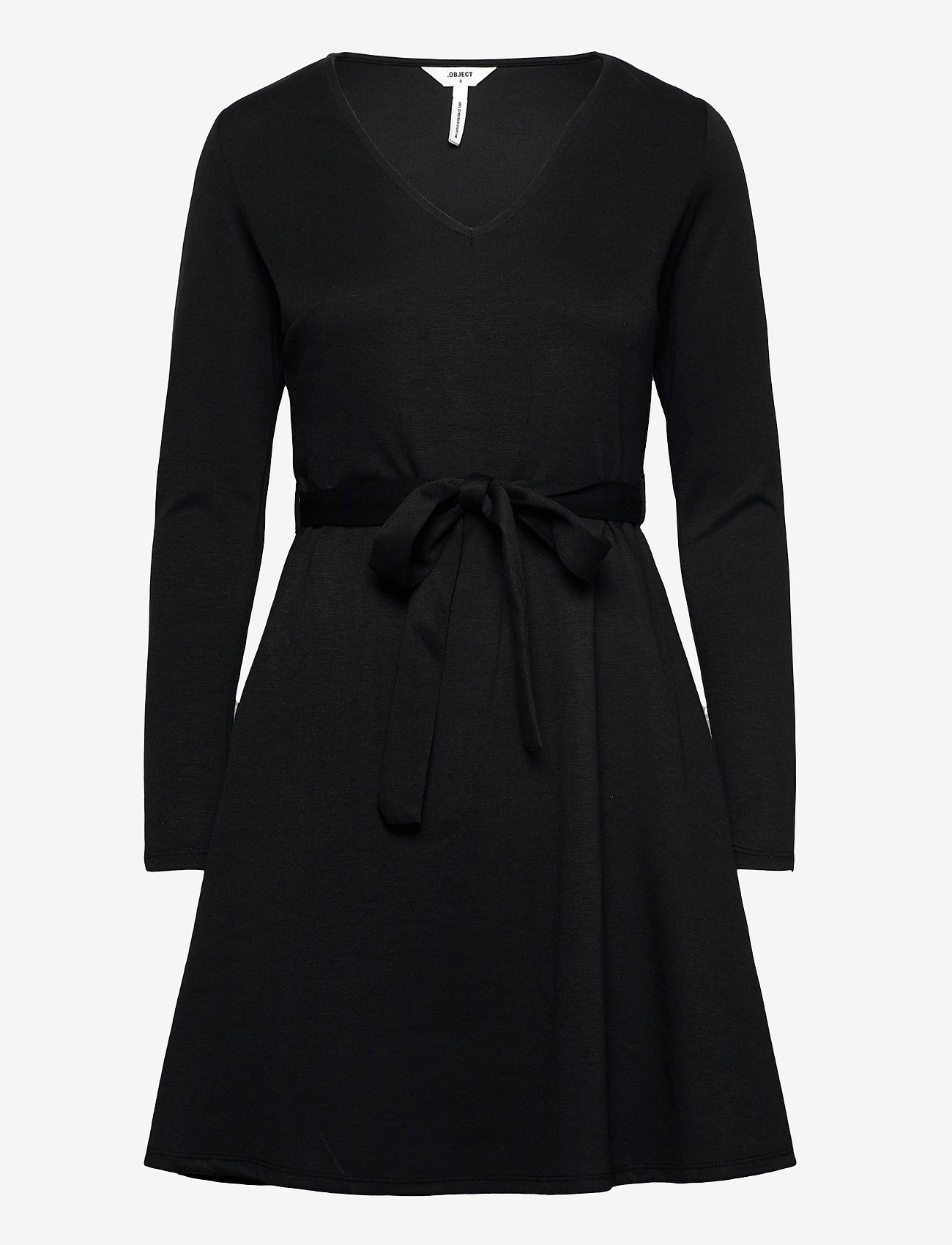 Object - OBJSAVA L/S V-NECK DRESS - everyday dresses - black - 0