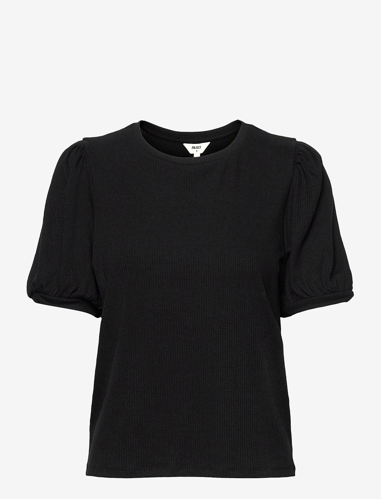 Object - OBJJAMIE S/S TOP - short-sleeved blouses - black - 0