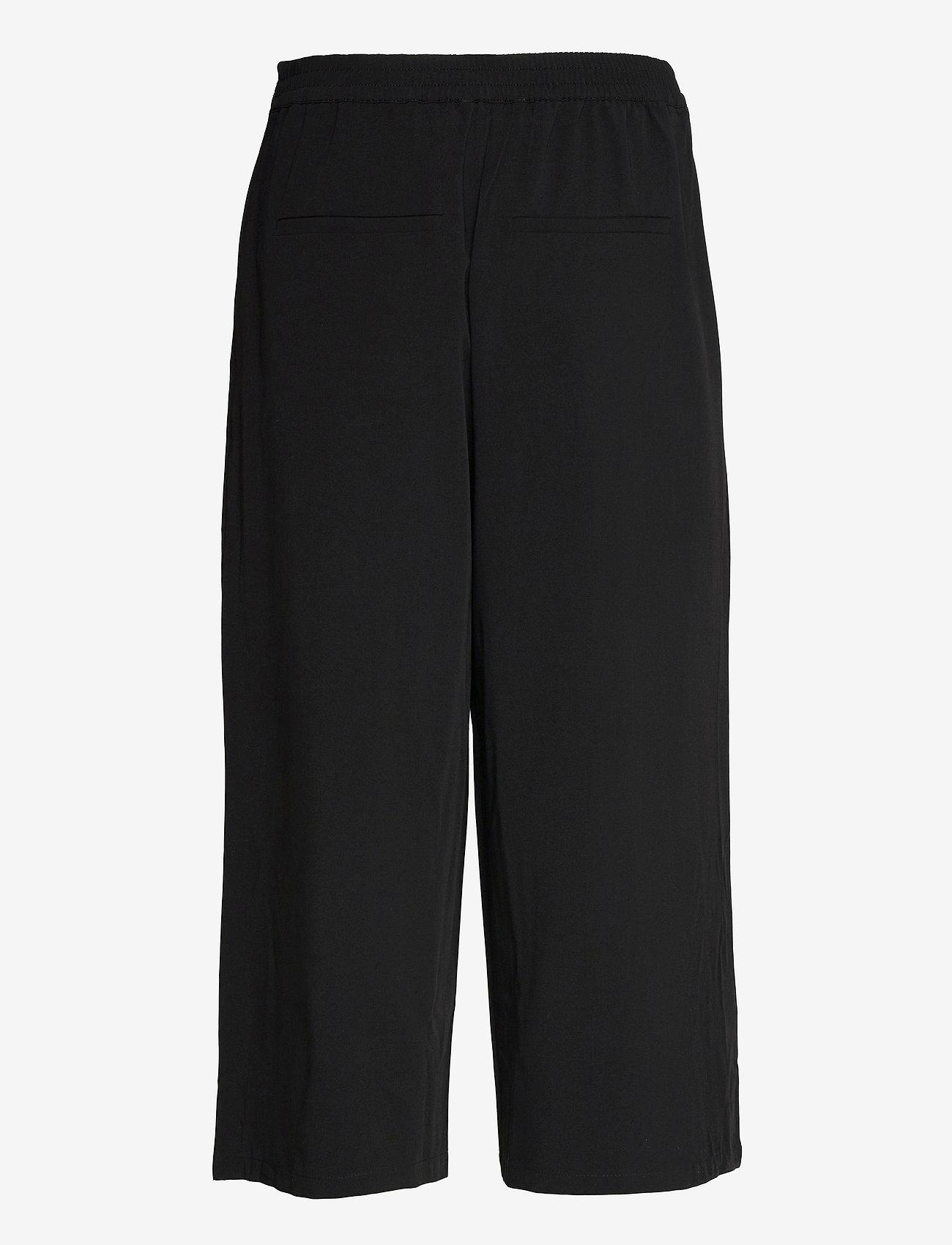 Object - OBJCECILIE NEW MW CULOTTE PANTS - bukser med brede ben - black - 1