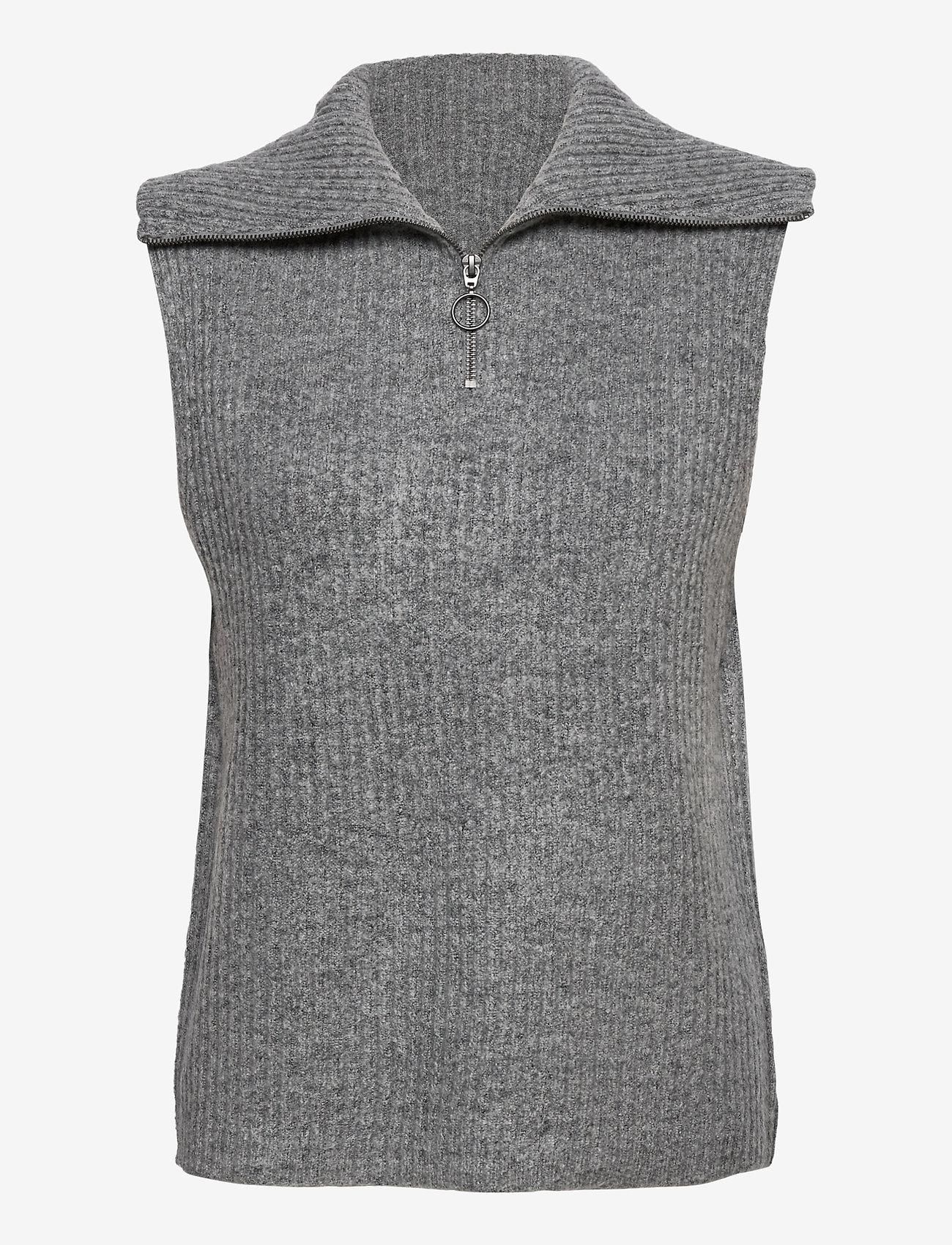 Object - OBJRACHEL S/L KNIT VEST - knitted vests - light grey melange - 0