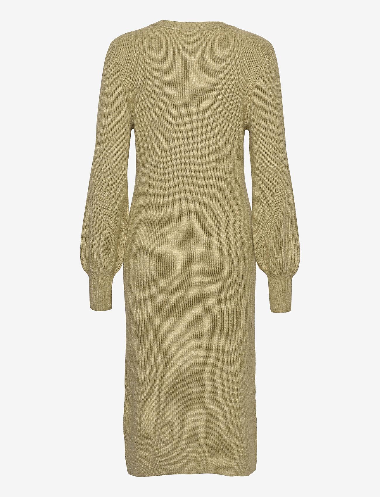Object - OBJVIOLETTE L/S KNIT DRESS - maxi dresses - khaki - 1