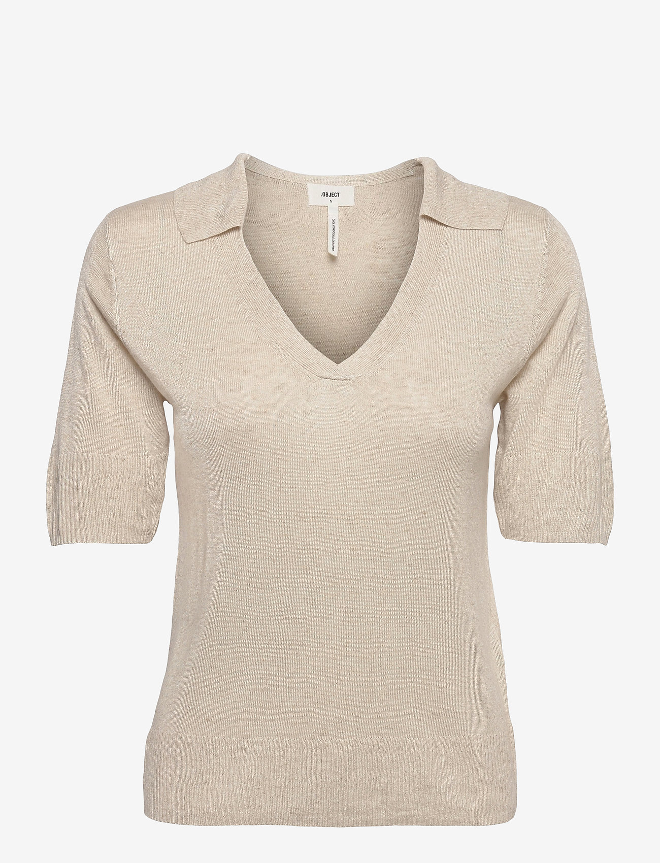Object - OBJTAMMY S/S  KNIT PULLOVER 114 - t-shirt & tops - sandshell - 0