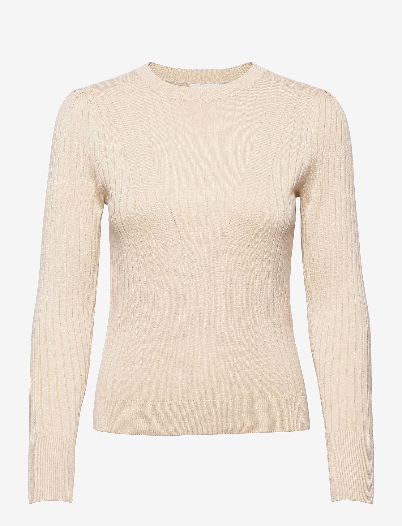 Object - OBJBELLAMIA L/S KNIT PULLOVER - sweaters - sandshell - 0