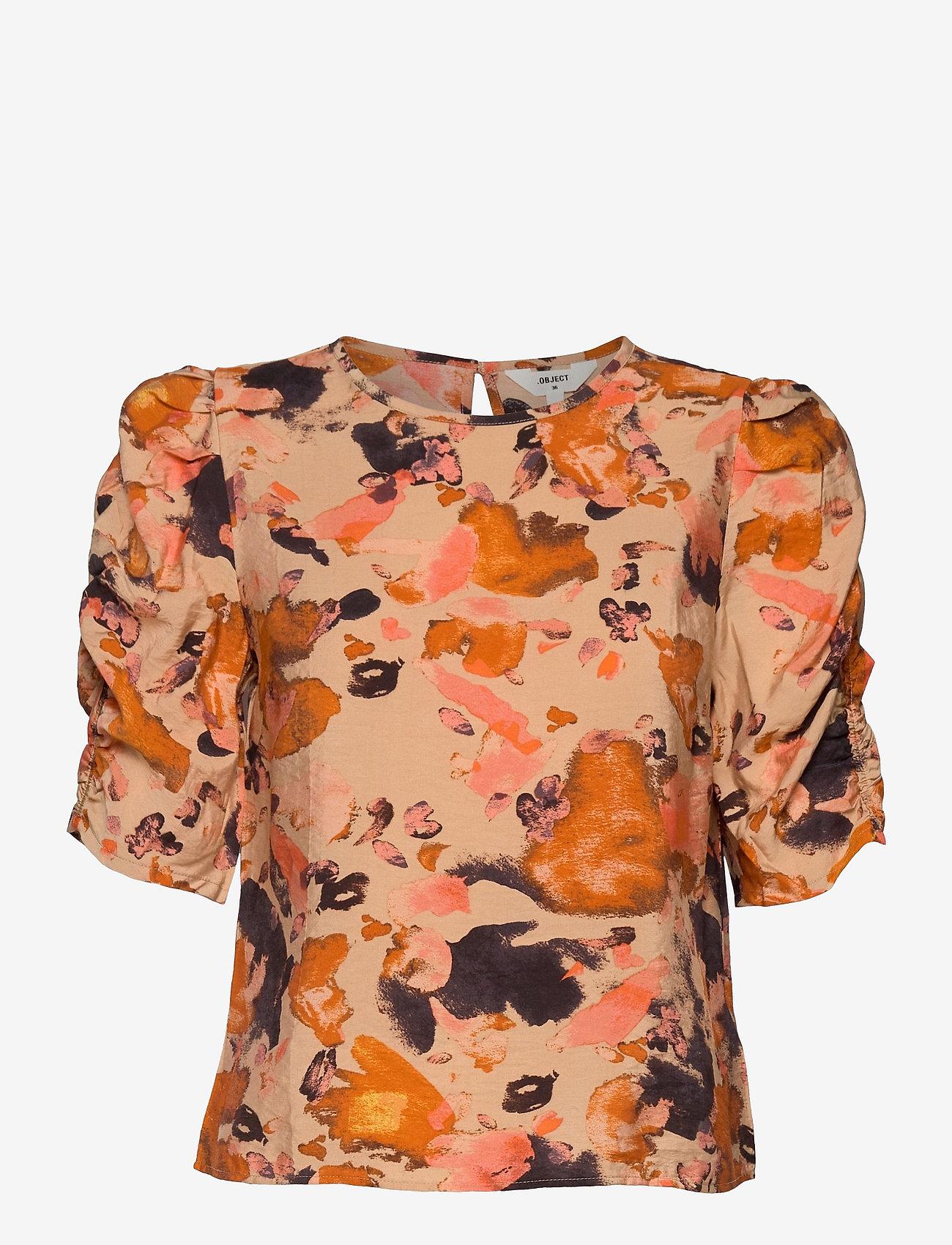 Object - OBJGALINA 2/4 TOP 114 - short-sleeved blouses - sandshell - 0