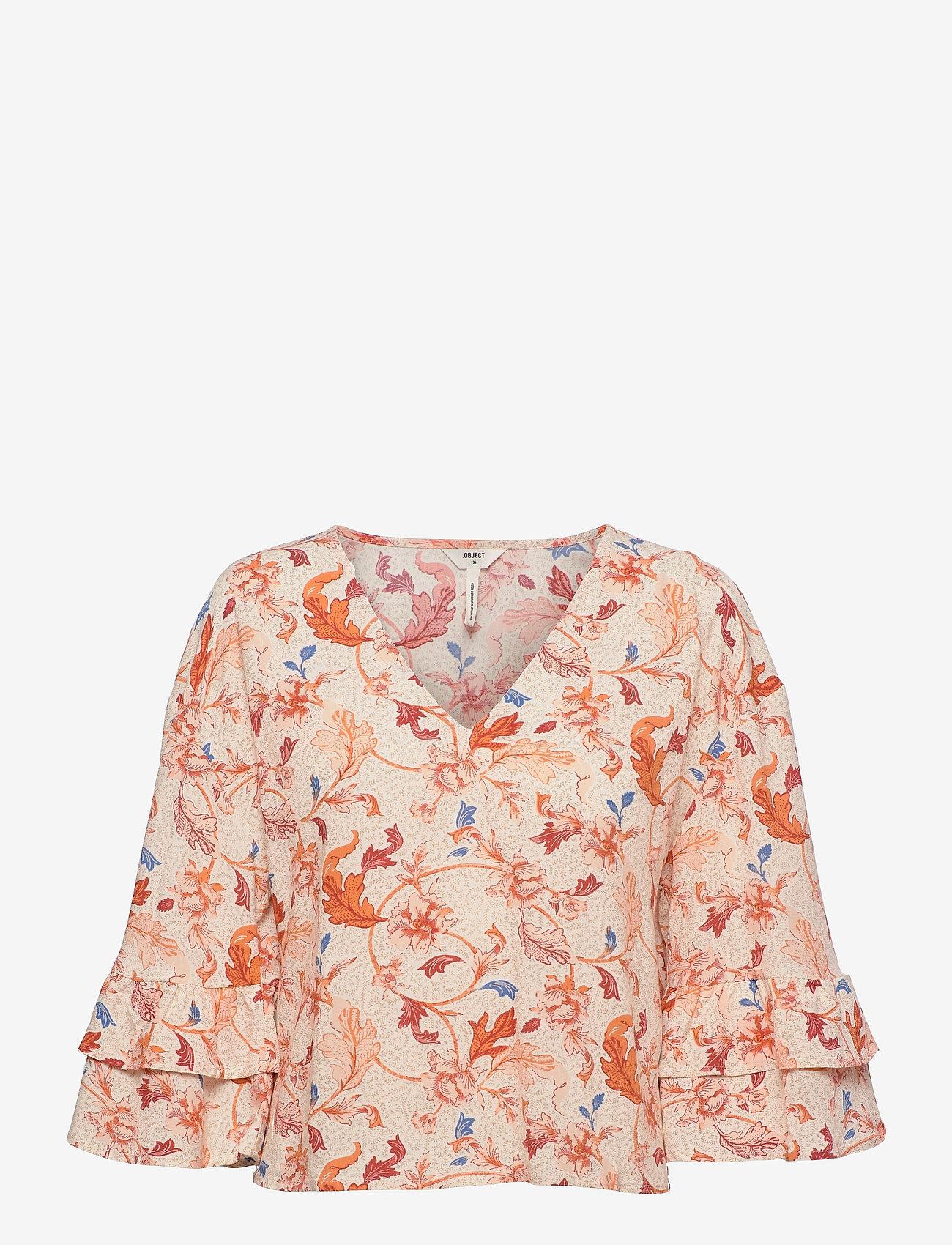 Object - OBJOBDULIA 3/4 TOP - long sleeved blouses - sandshell - 0