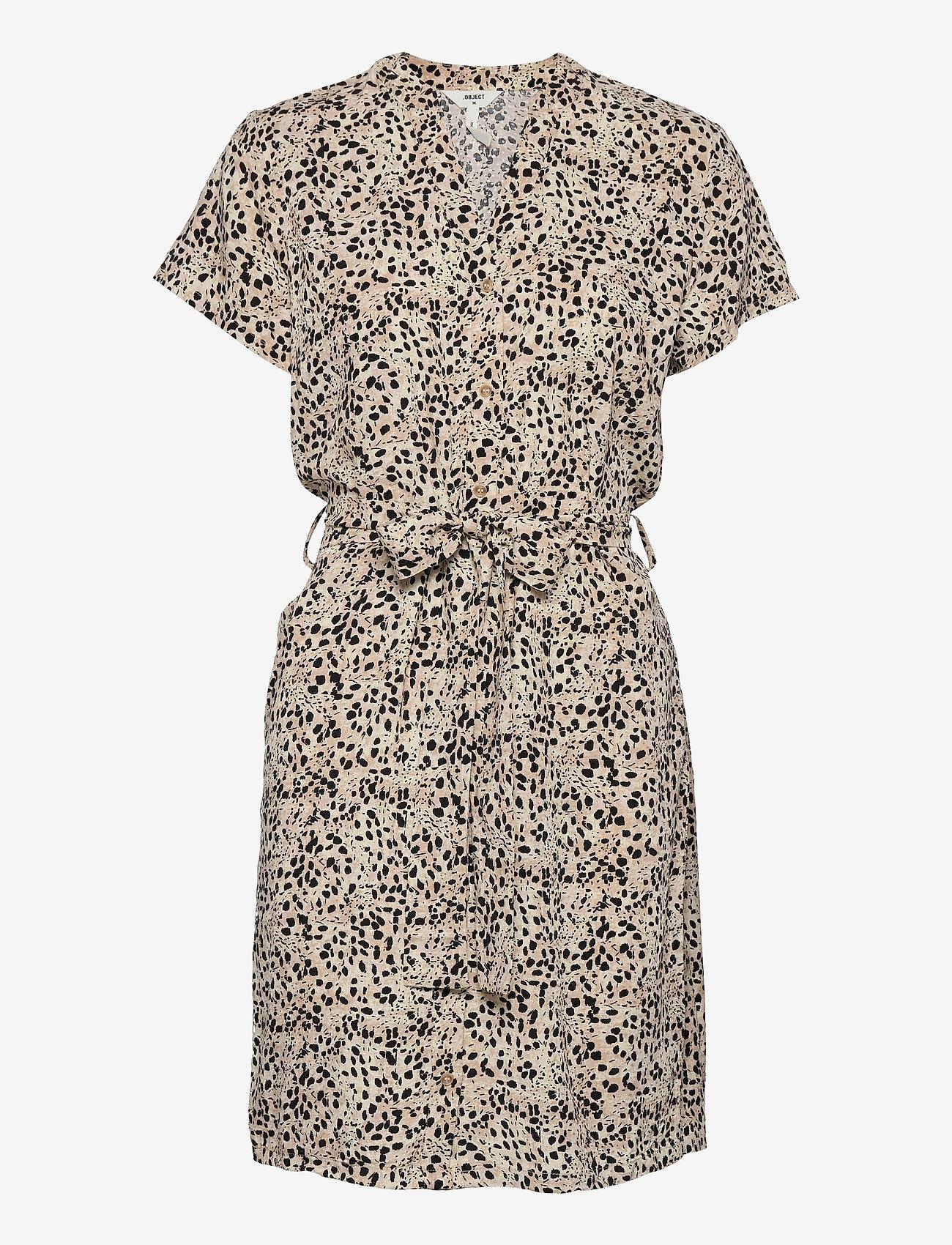 Object - OBJHESSA BIRDY S/S SHIRT DRESS 114 .C - summer dresses - sandshell - 0