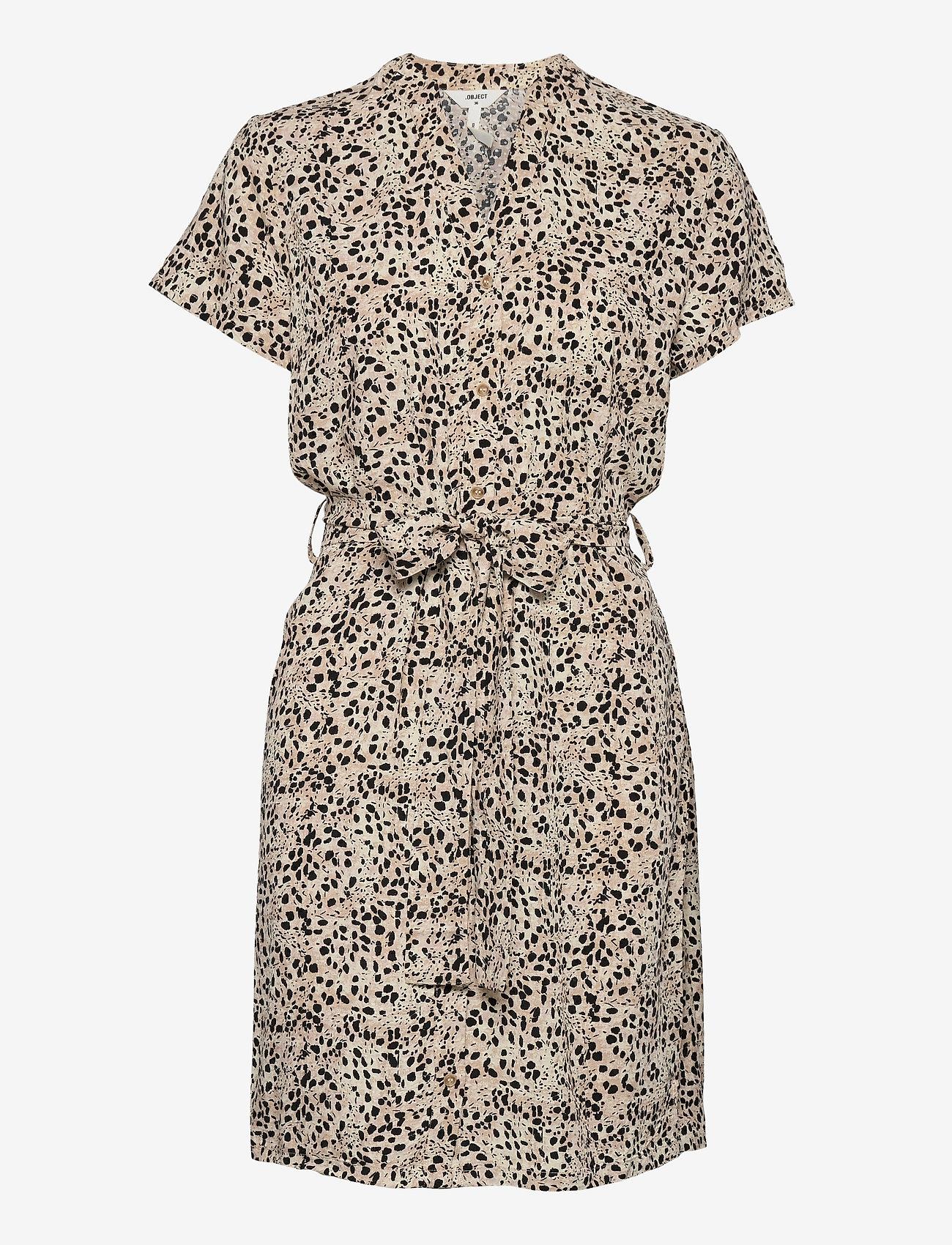 Object - OBJHESSA BIRDY S/S SHIRT DRESS 114 .C - summer dresses - sandshell - 1