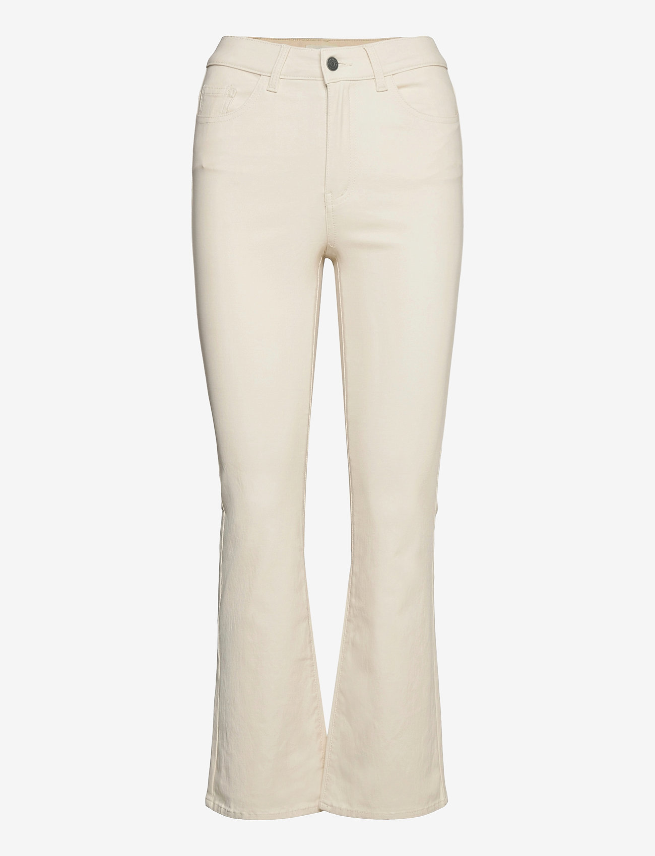 Object - OBJBELLE MW 7/8 COATED FLARED PANT SC - flared jeans - sandshell - 0