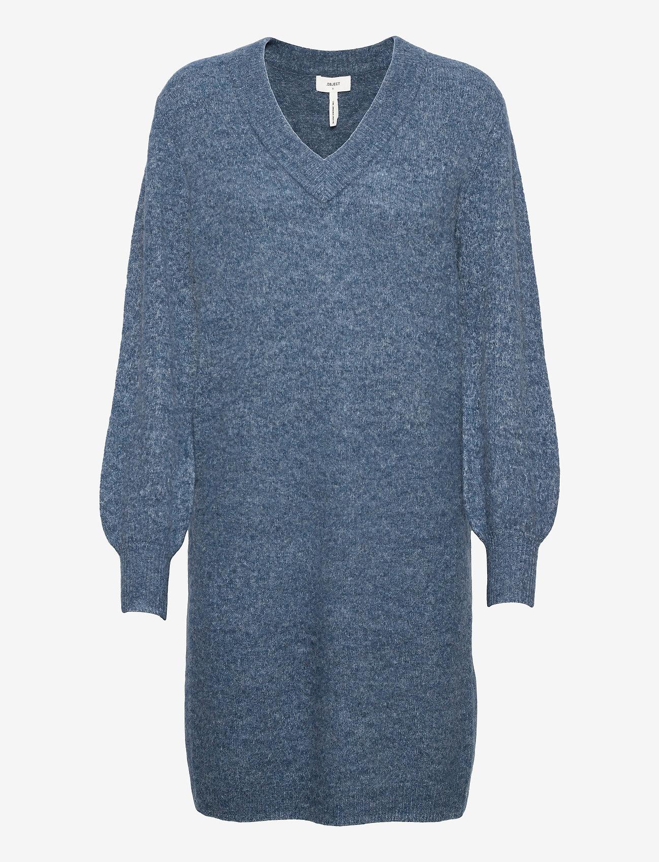 Object - OBJNETE V-NECK L/S DRESS A Q - kesämekot - blue mirage - 0