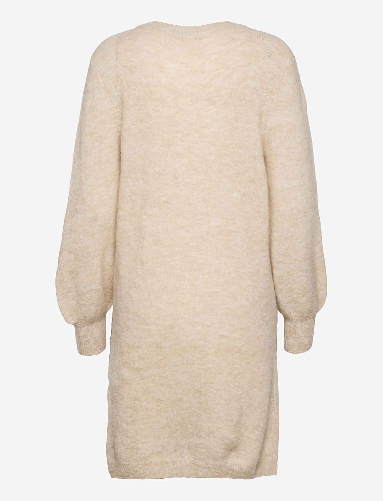 Object - OBJNETE V-NECK L/S DRESS A Q - knitted dresses - sandshell - 1