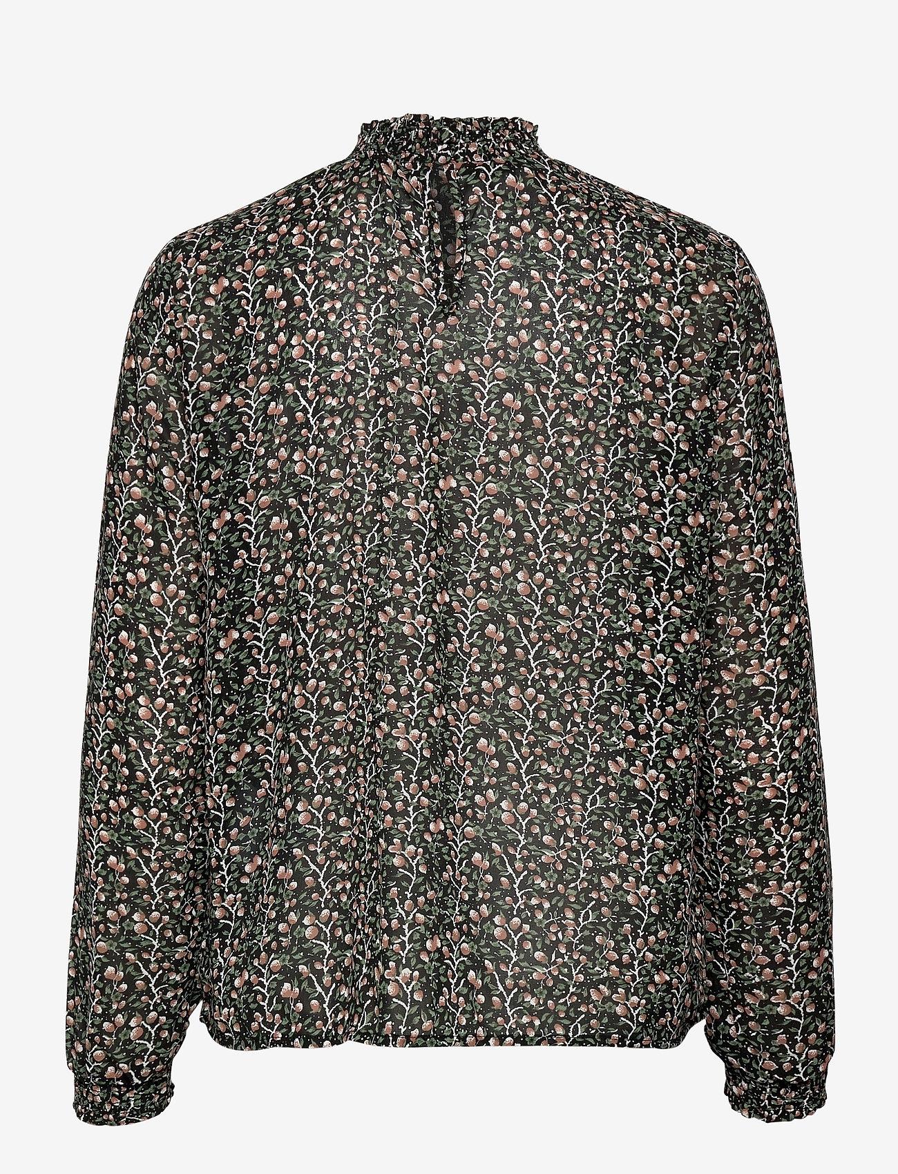 Object - OBJASTA DALILA L/S TOP A LMT - long sleeved blouses - black - 1