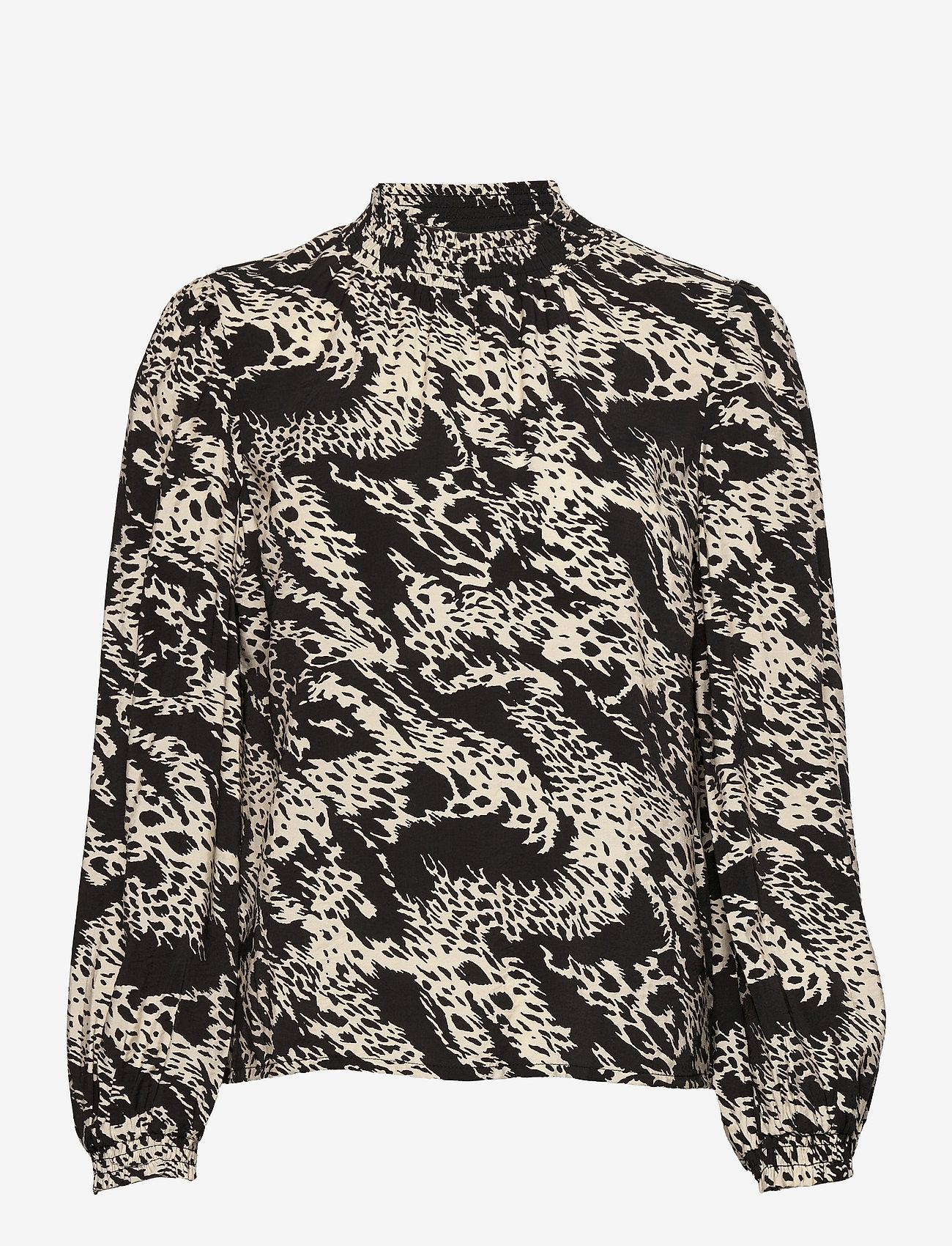 Object - OBJTALUSA L/S TOP - long sleeved blouses - black - 0