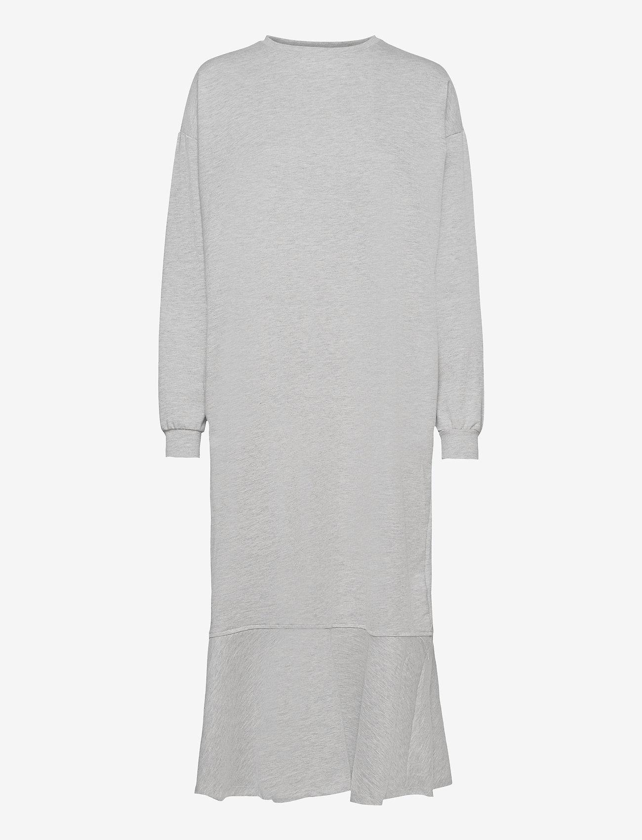 Object - OBJREGITA L/S MIDI JERSEY DRESS A OFW - t-shirt dresses - light grey melange - 0