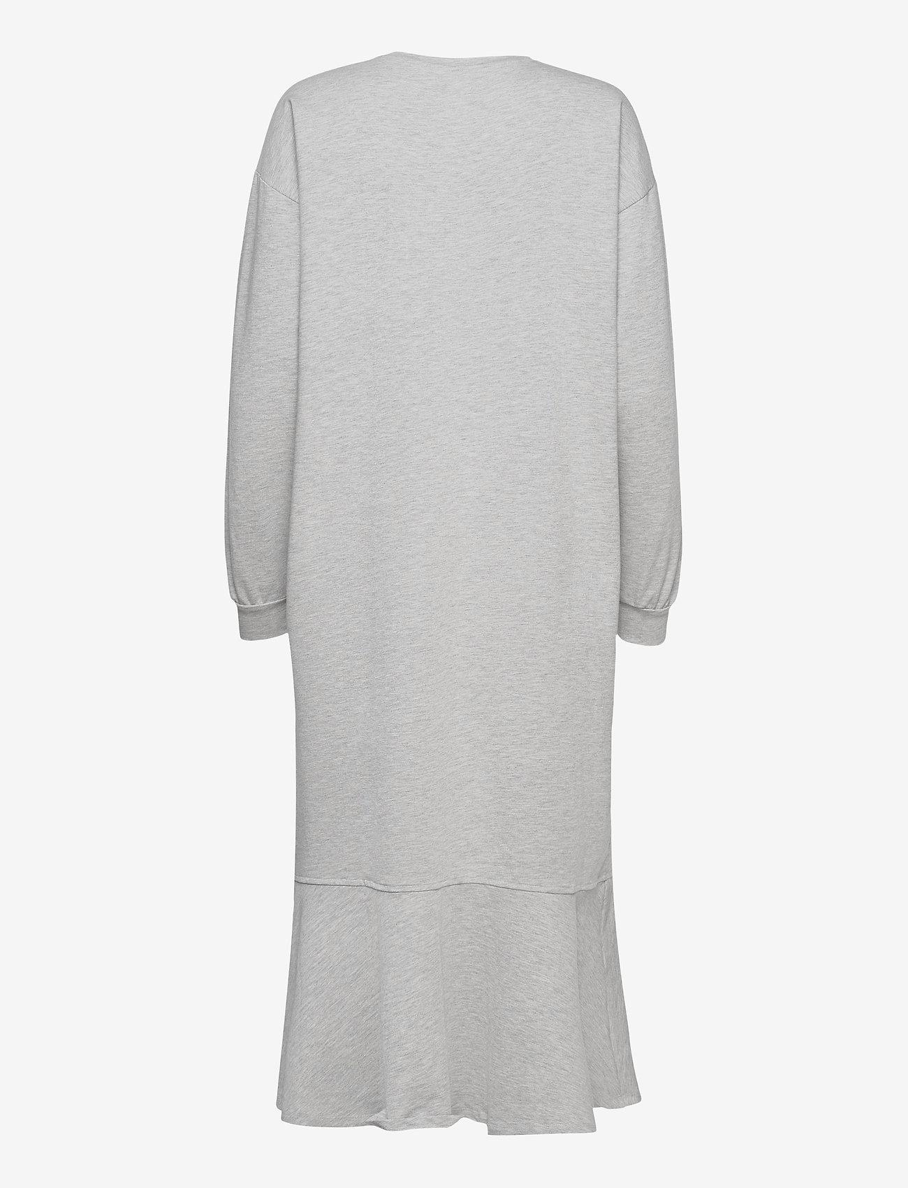 Object - OBJREGITA L/S MIDI JERSEY DRESS A OFW - t-shirt dresses - light grey melange - 1