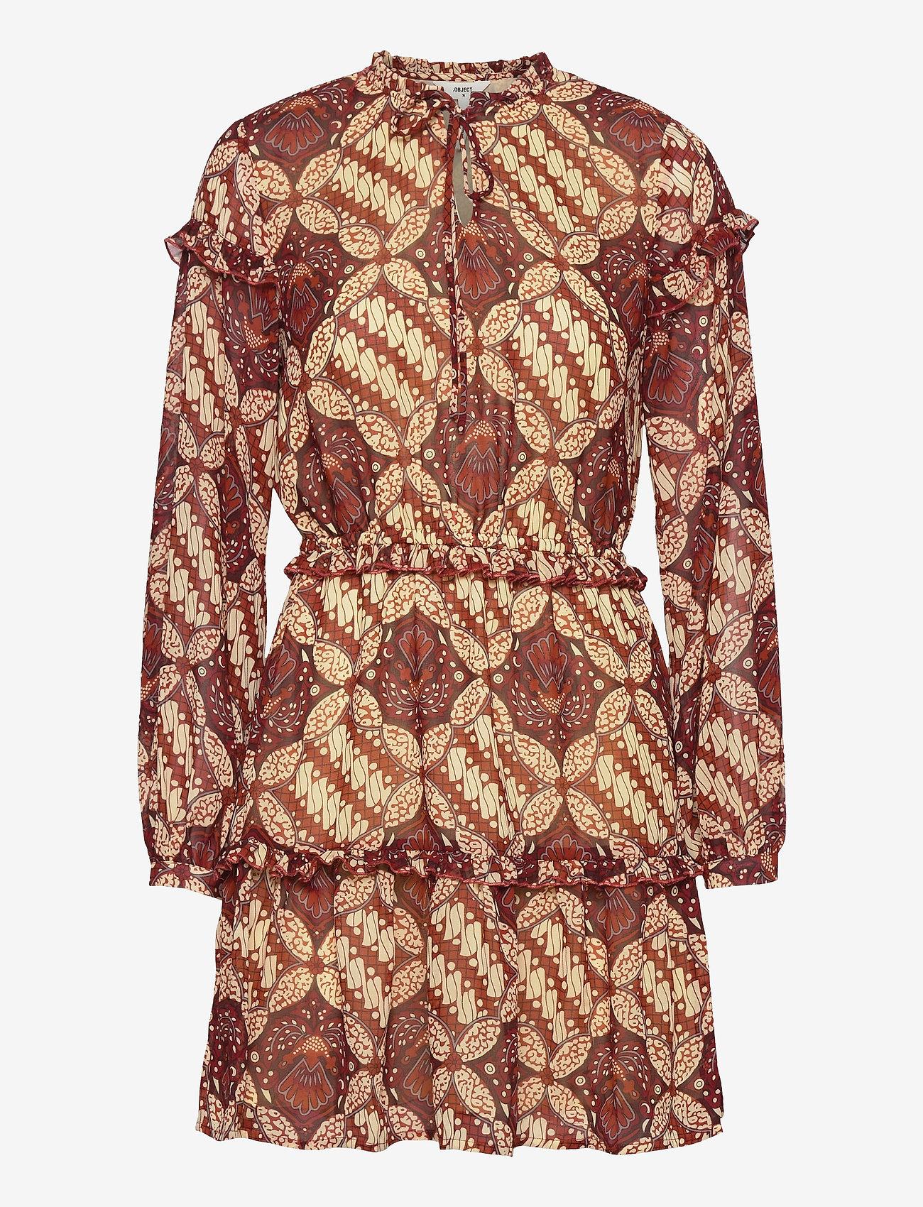 Object - OBJGRIVA L/S SHORT DRESS A OFW - party dresses - gardenia - 0