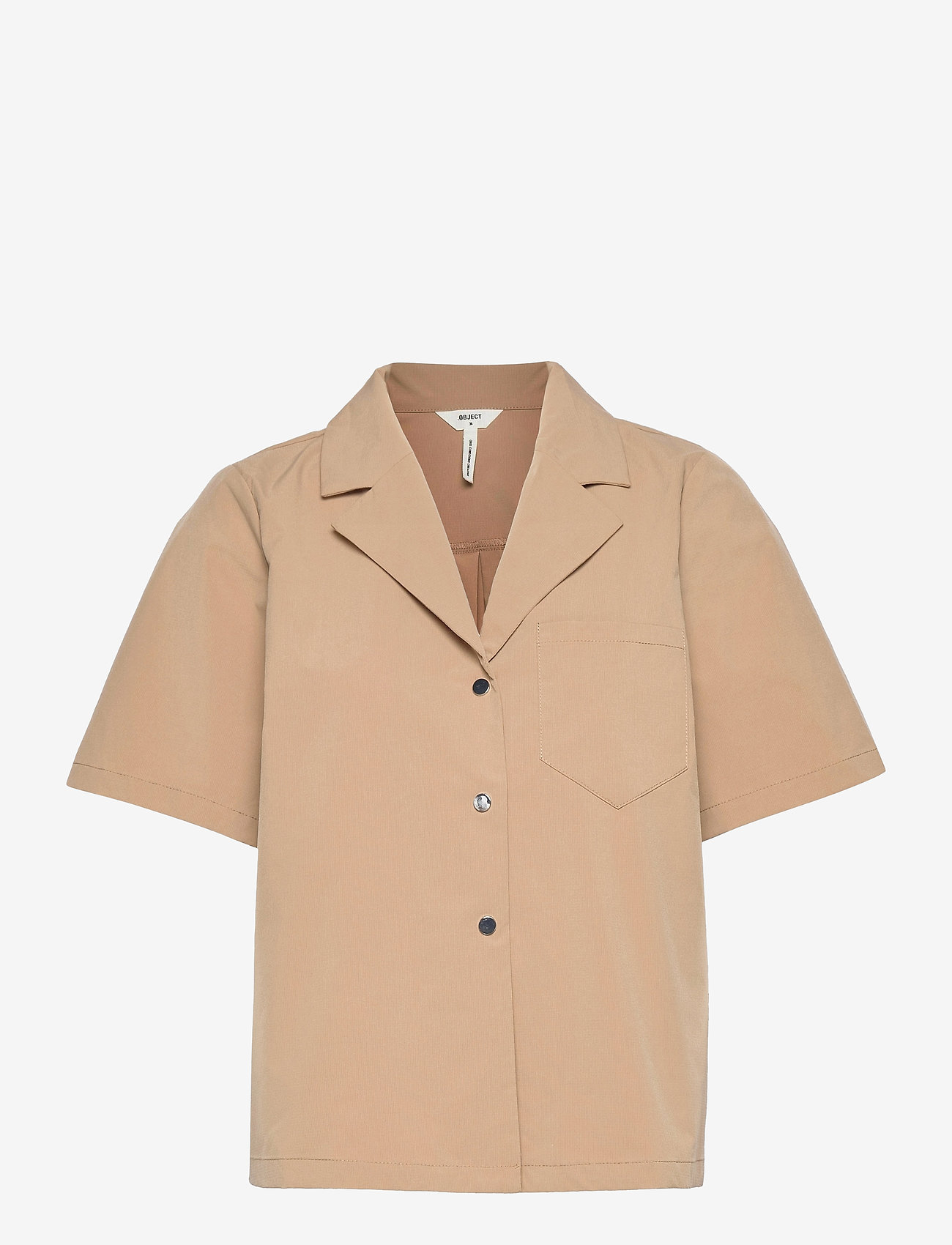 Object - OBJFRIGG S/S RESORT SHIRT A FAIR - short-sleeved shirts - sandshell - 0
