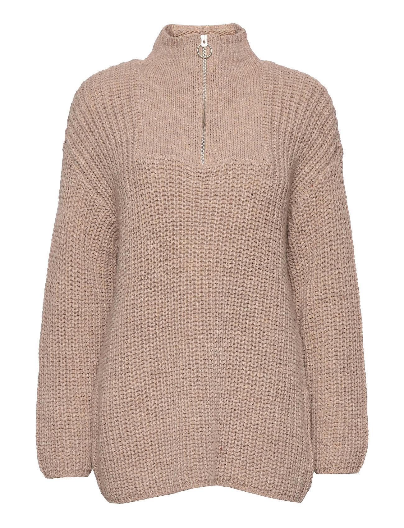Objstella Highneck L/S Knit Pullover Rep Strikket Trøje Beige Object
