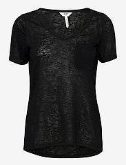 Object - OBJTESSI SLUB S/S V-NECK - t-shirts - black - 0