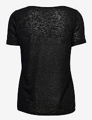 Object - OBJTESSI SLUB S/S V-NECK - t-shirts - black - 1