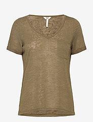 Object - OBJTESSI SLUB S/S V-NECK - t-shirts - burnt olive - 0
