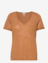 Object - OBJTESSI SLUB S/S V-NECK - t-shirts - chipmunk - 0