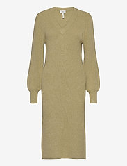 Object - OBJVIOLETTE L/S KNIT DRESS - maxi dresses - khaki - 0