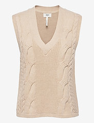 Object - OBJLEONORE KNIT WAISTCOAT - knitted vests - sandshell - 0