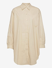 Object - OBJALMAS L/S LONG SHIRT - long-sleeved shirts - sandshell - 0