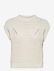 Object - OBJTRISH KNIT WAISTCOAT 114 - knitted tops - sandshell - 0