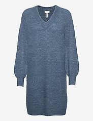Object - OBJNETE V-NECK L/S DRESS A Q - knitted dresses - blue mirage - 0